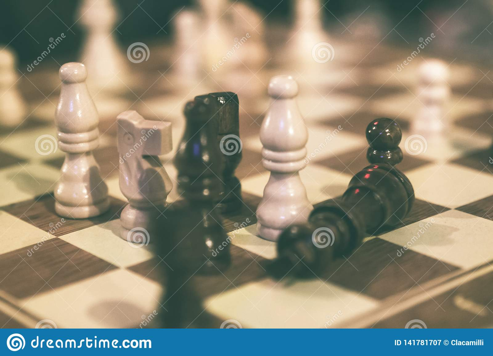 Checkers during a chess game