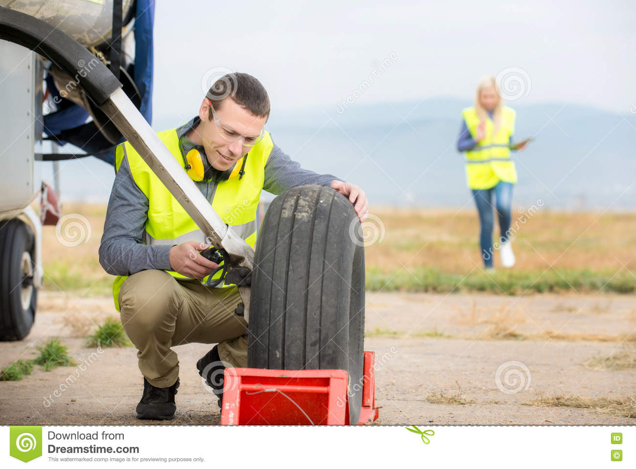 Checking aircraft s tire