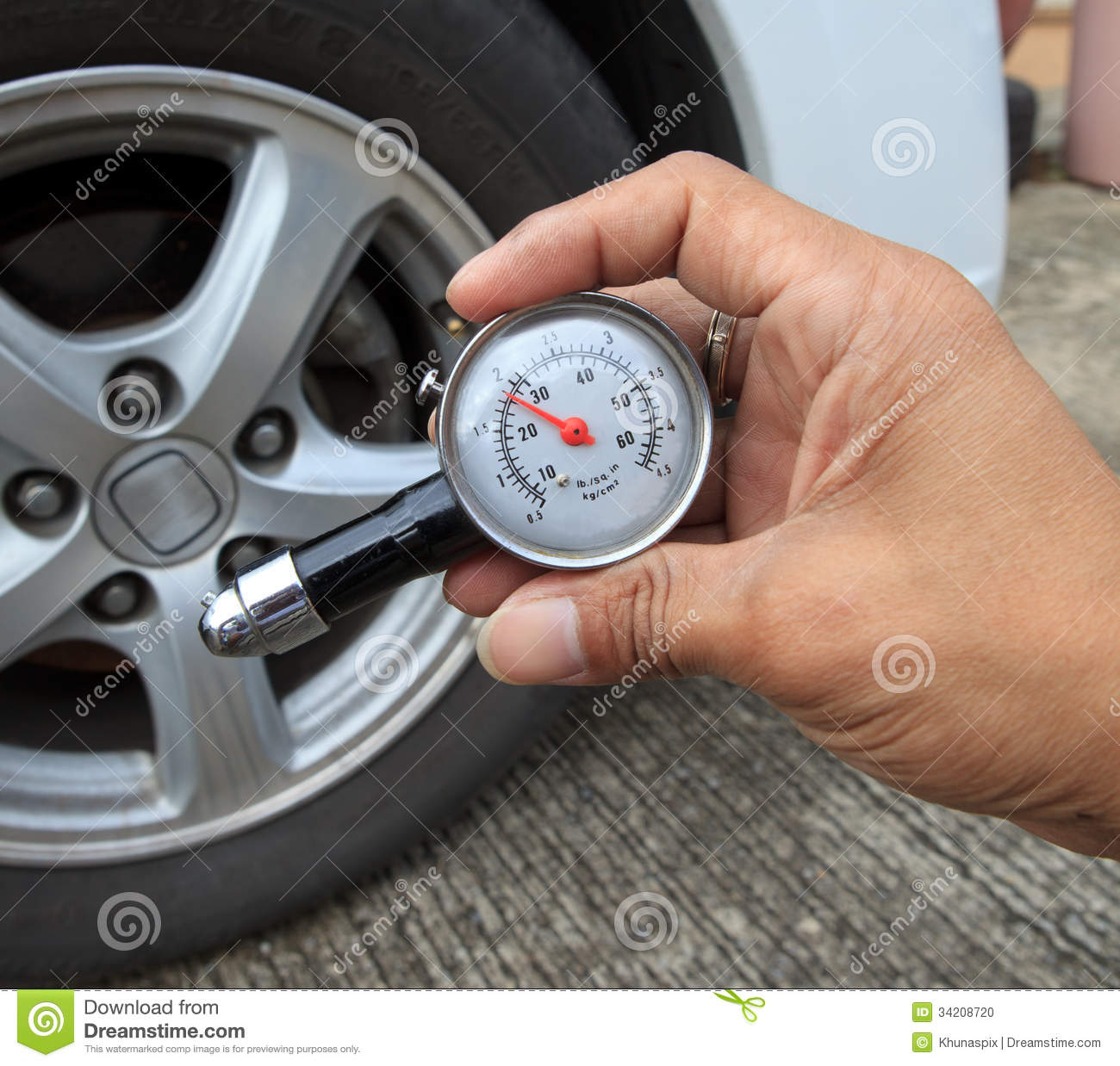 Checking Tire Air Pressure With Meter Gauge Before ...