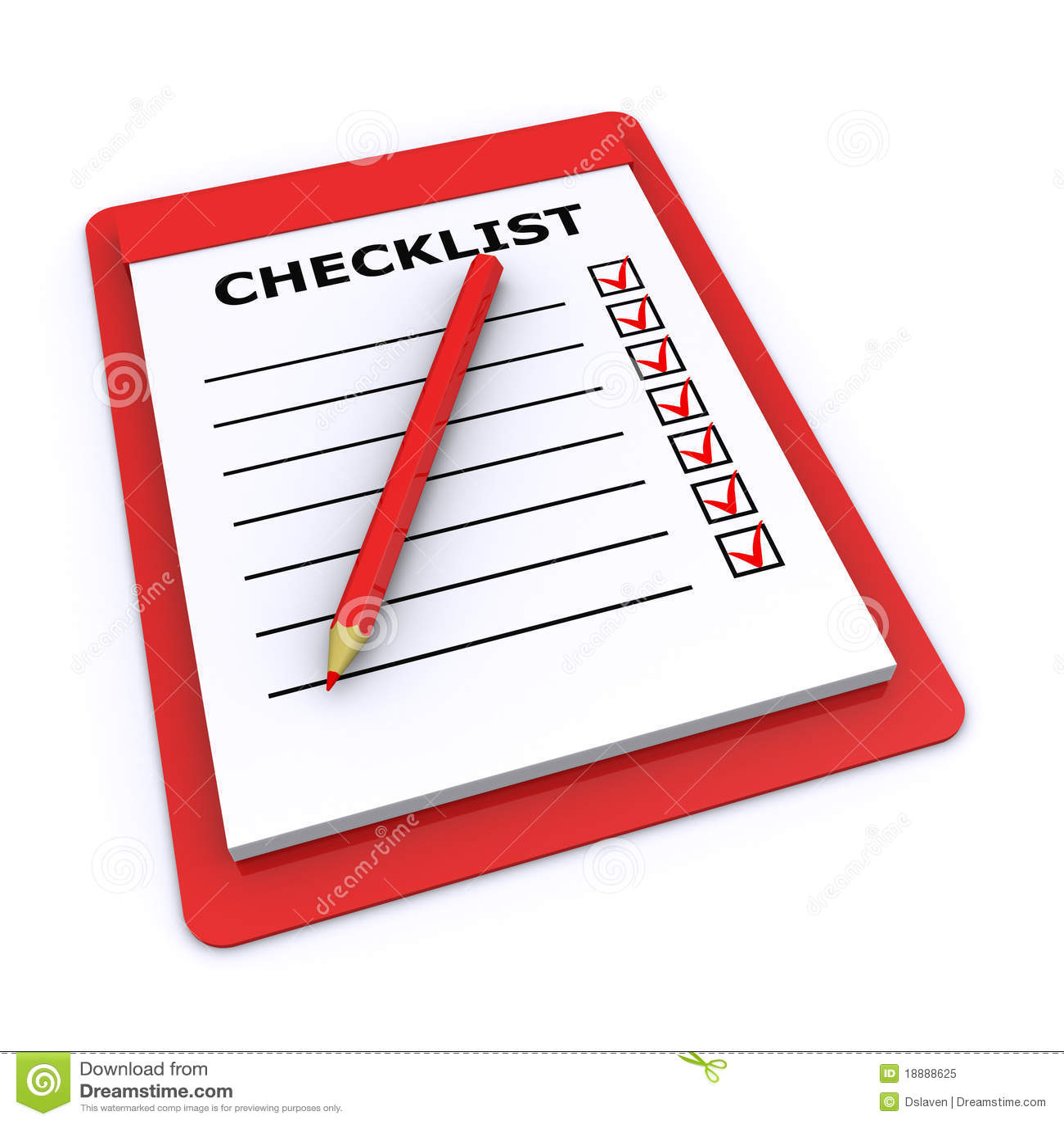 Checklist 3d stock illustration  Illustration of success - 18888625