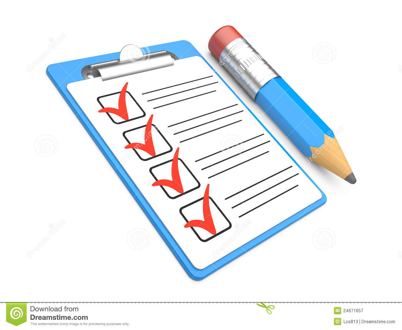 checklist and clipboard with white background stock illustration