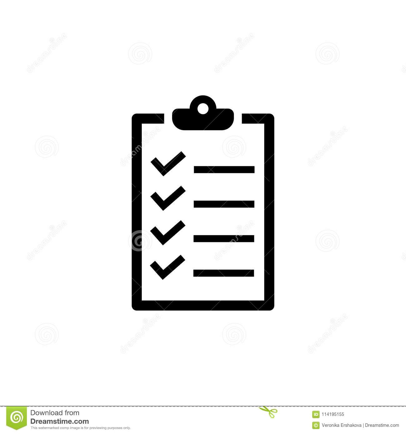 Checklist Icon In Flat Style To Do List Symbol Stock Vector