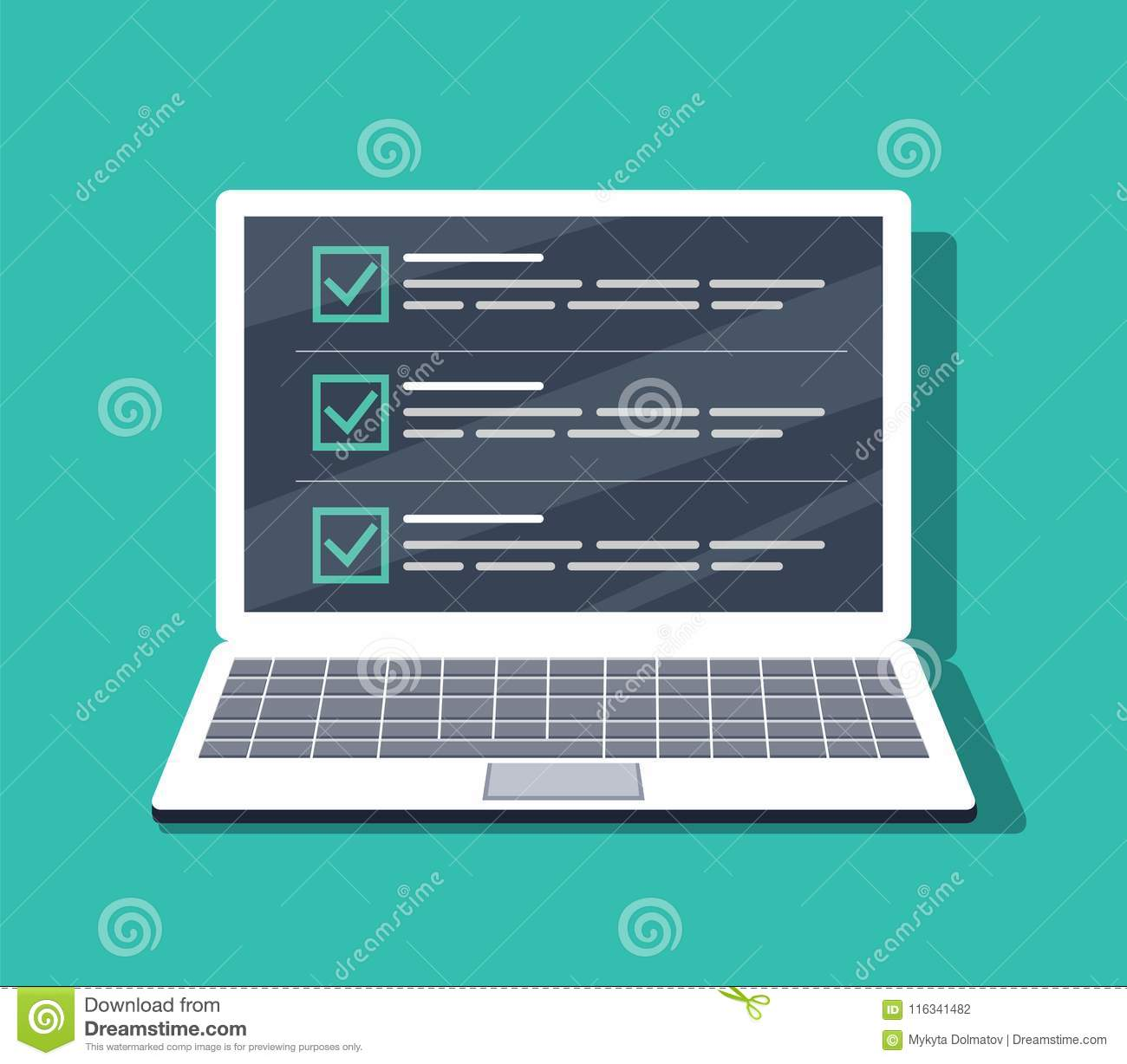 Checklist On The Laptop Screen Isolated Vector Illustration In Flat Style Design For Web Site Banners Stock Vector Illustration Of Icon Laptop 116341482