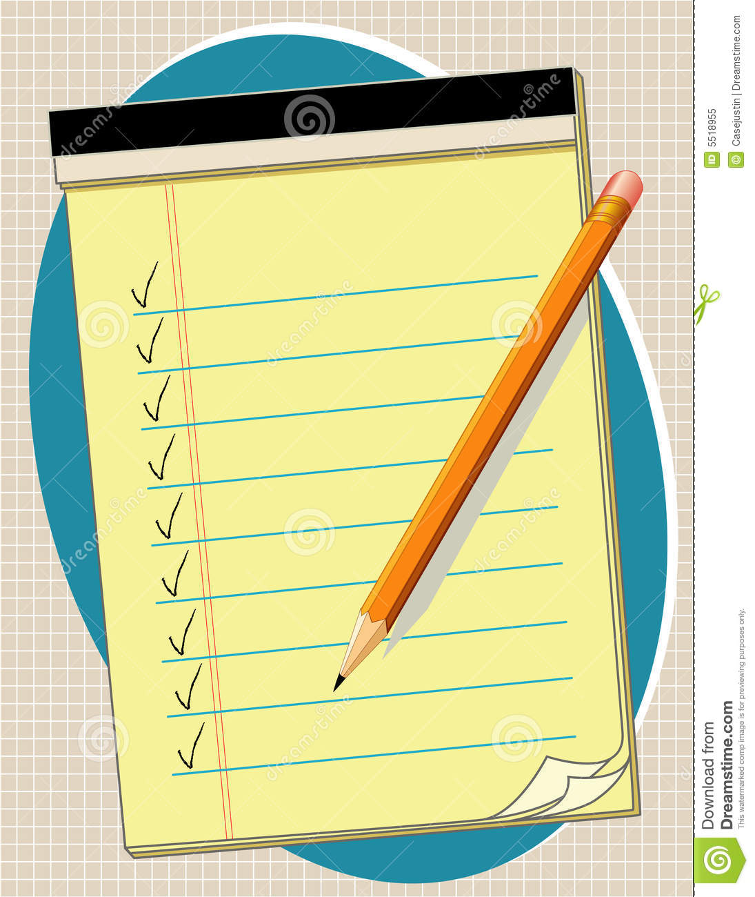 Checklist pad pencil yellow