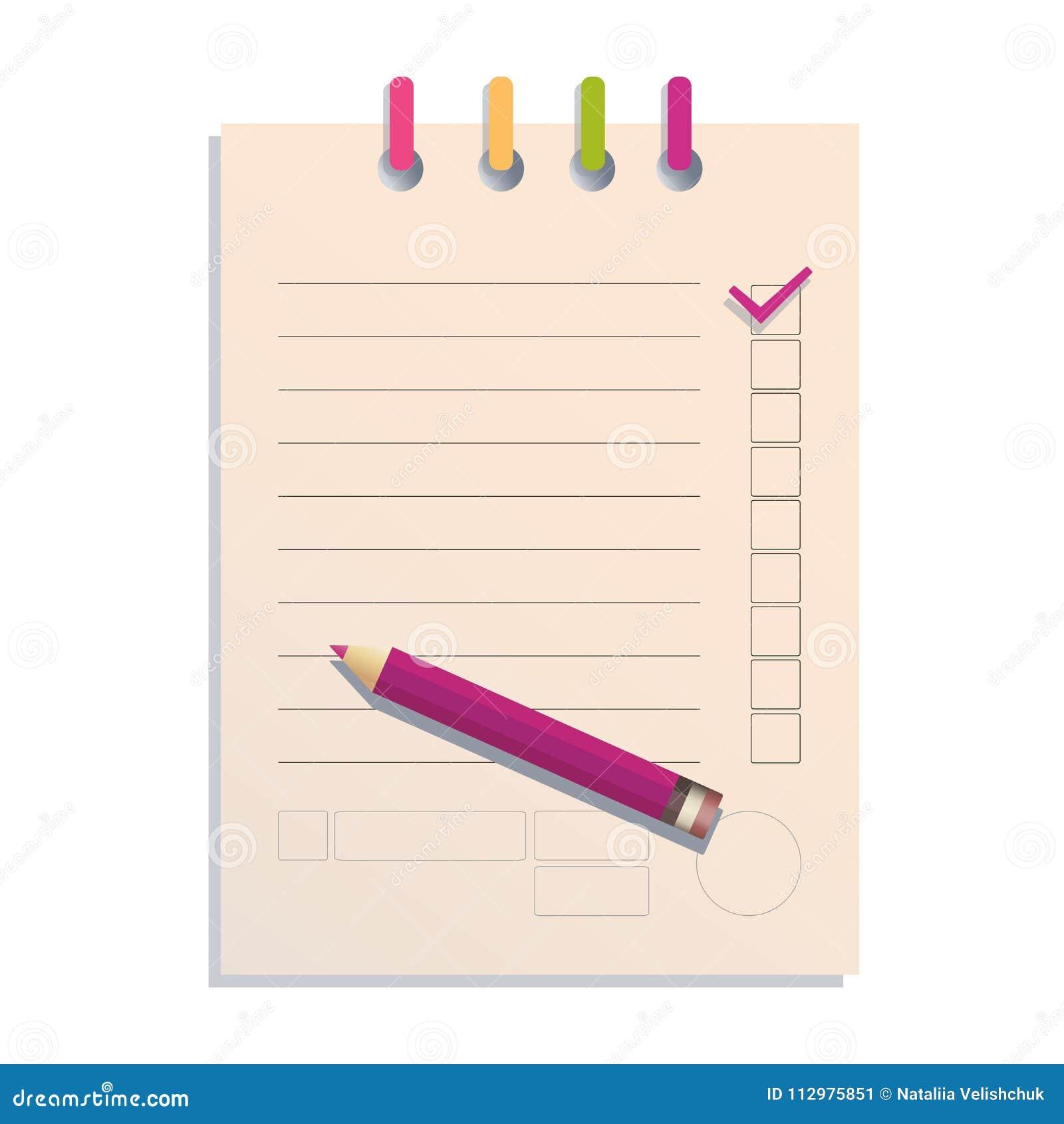 Checklist and pencil. The icon.