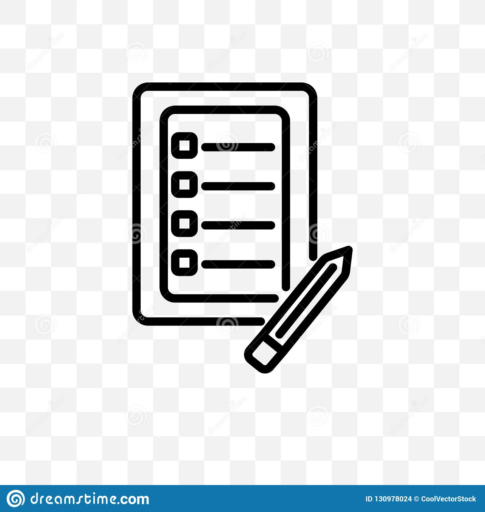 checklist with a pencil vector linear icon isolated on transparent