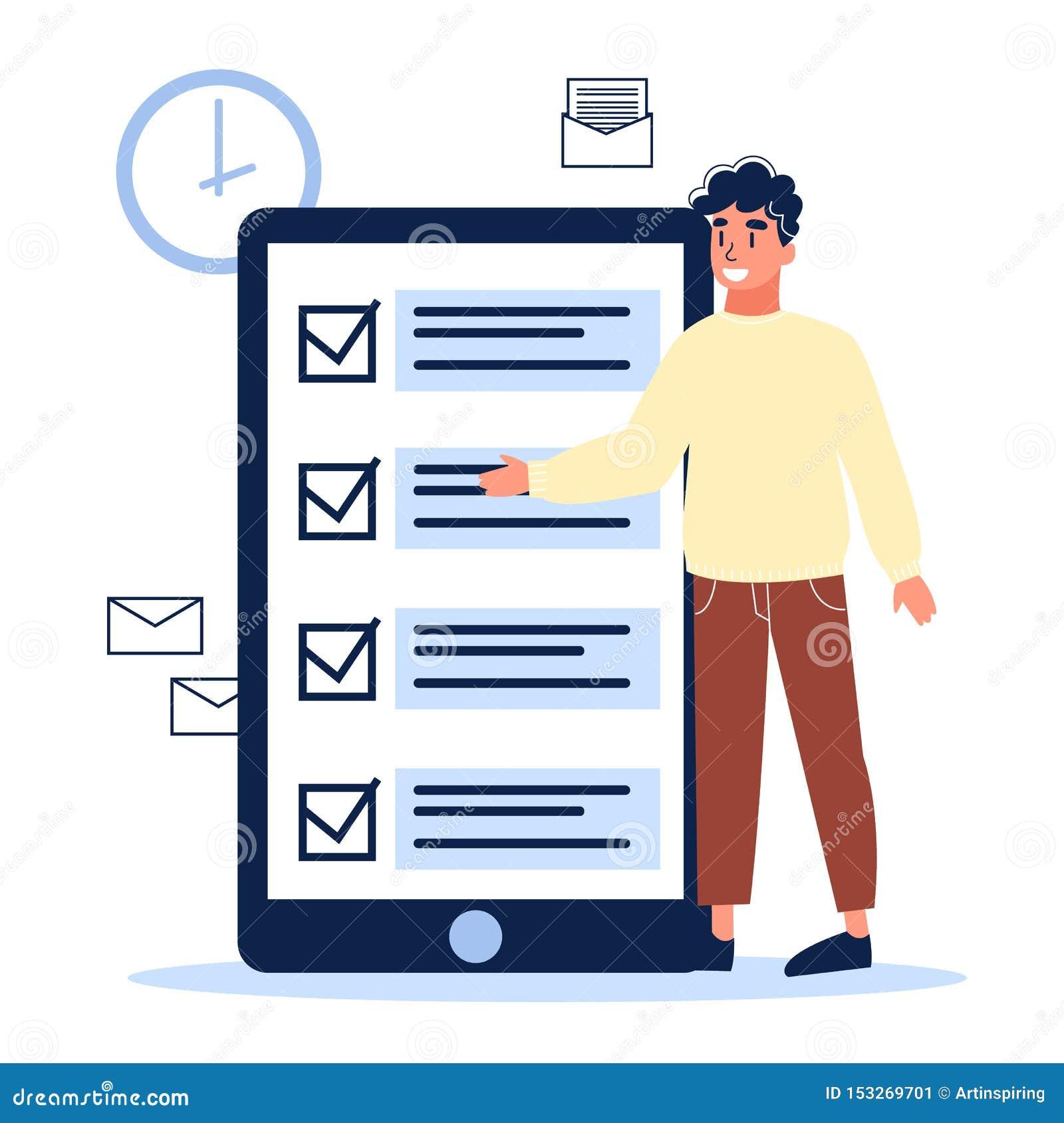 Checkliste auf dem Schirm des Handys Digital-Aufgabe