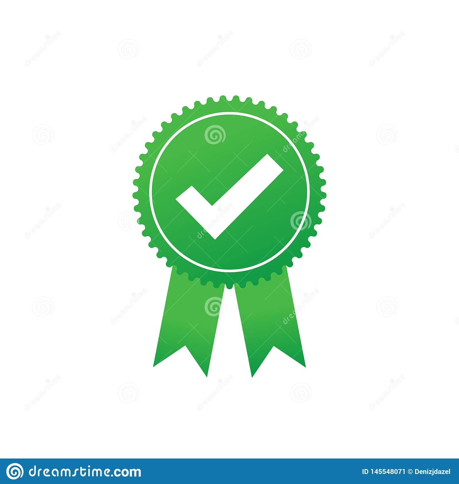Checkmark vector icon. Green approved star sticker on white background. Green badge or banner. Vector stock illustration