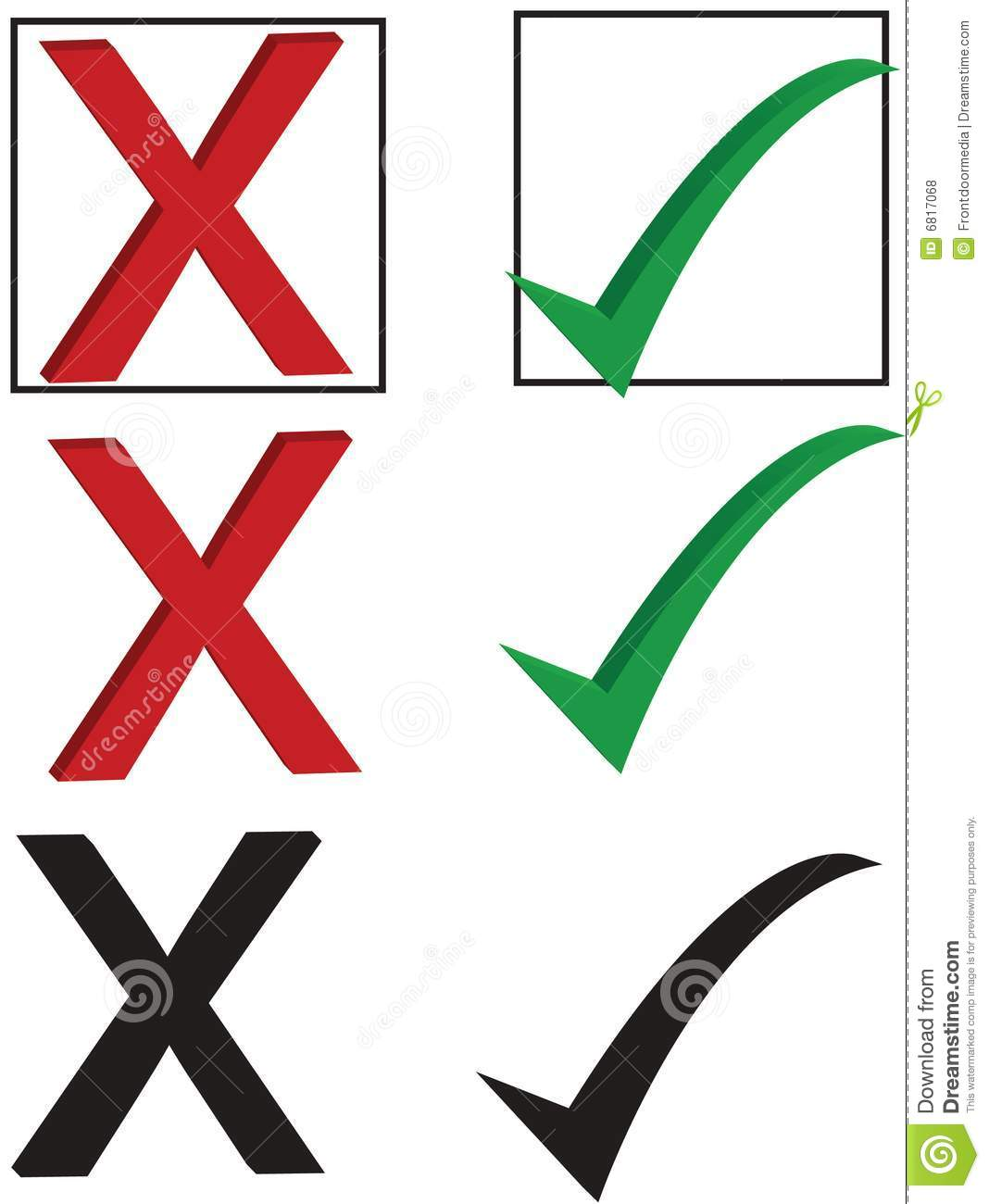 Checkmark And X Stock Vector Illustration Of Green Mark 6817068