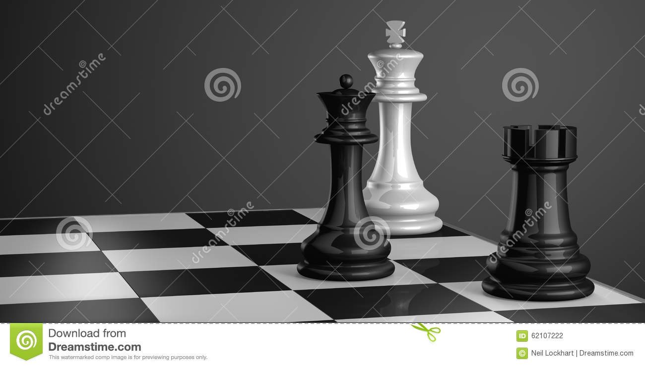 Chess pieces in checkmate. Rook and Queen Vs. King.