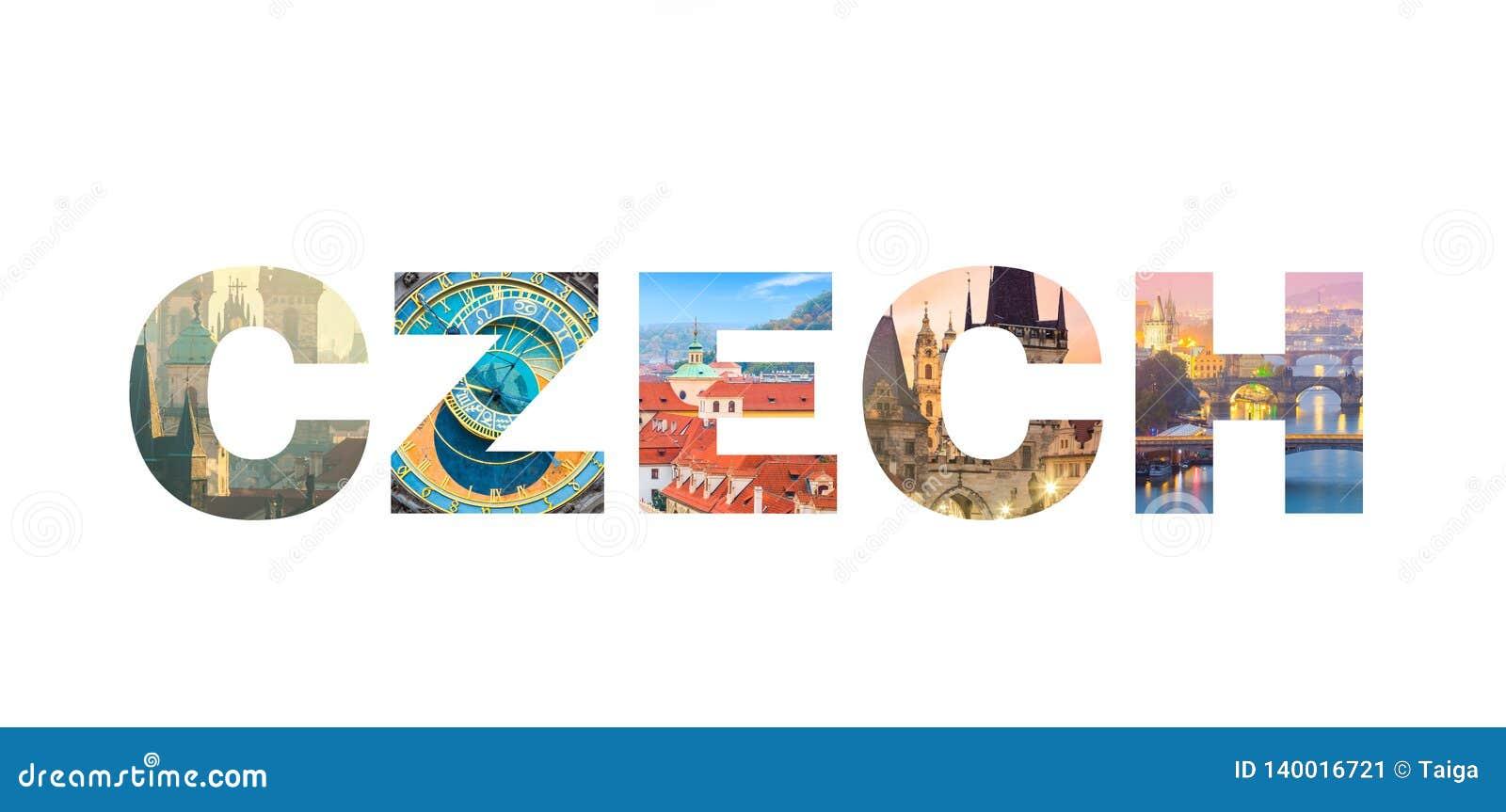 CHECO aislado en el fondo blanco - señales checas famosas de las letras
