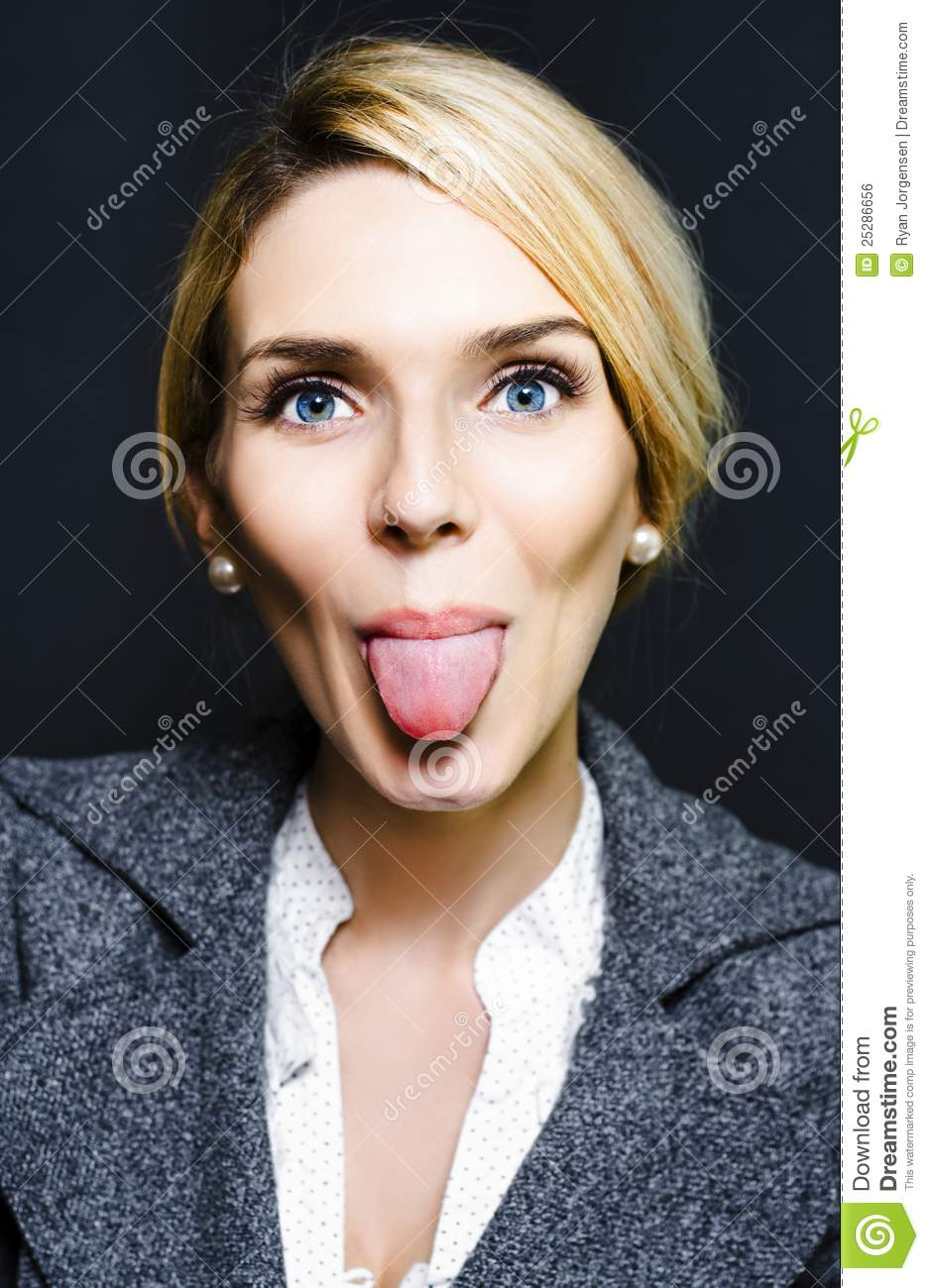 Cheeky Business Woman Sticking Out Tongue Royalty Free Stock Image - Image 25286656-1547