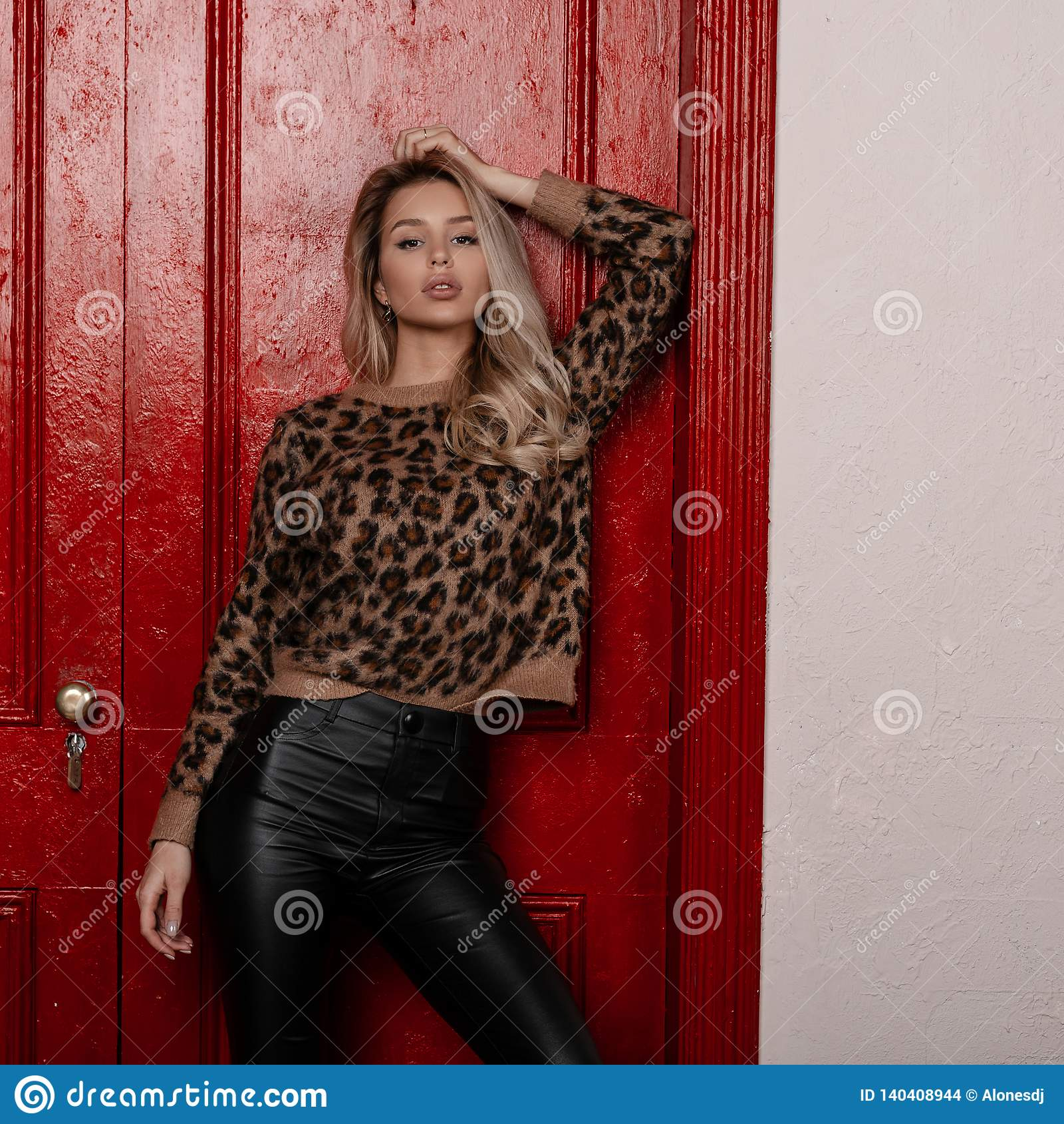 3b1f0170cdc3d Cheeky modern young blonde woman in a beautiful stylish leopard sweater in  black leather pants poses