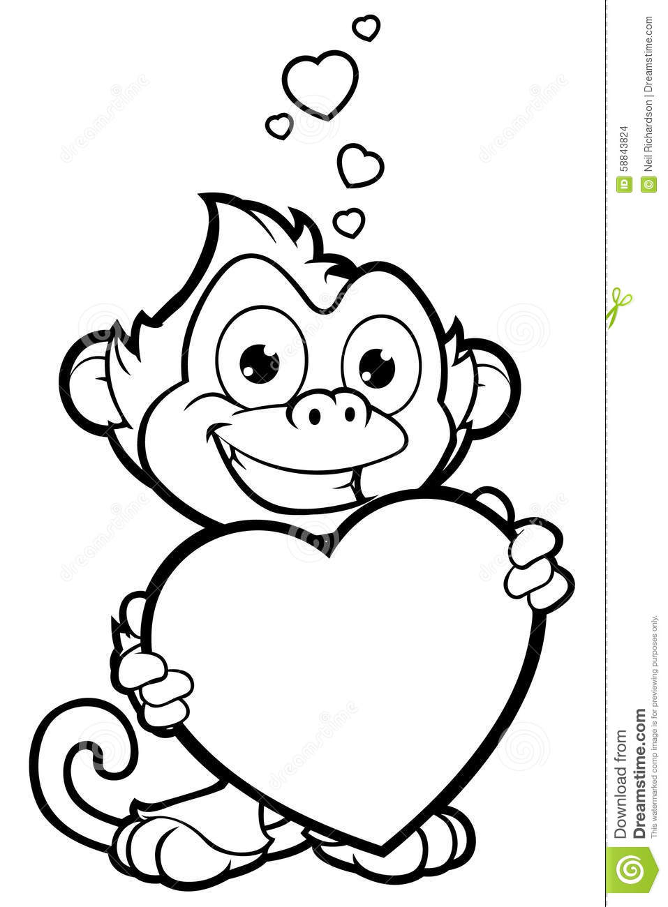 Cheeky Monkey Character In Black & White Stock Vector ...