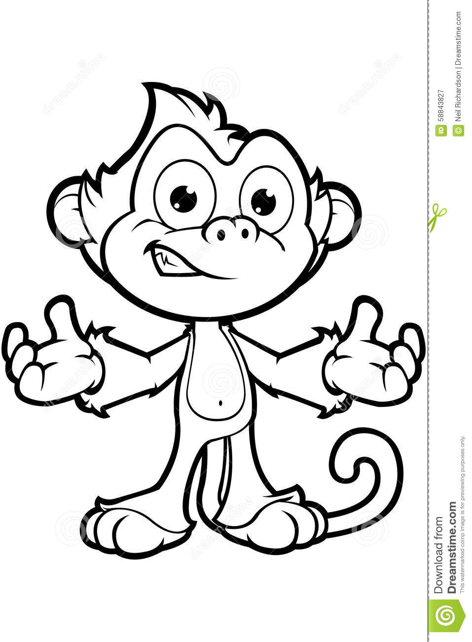 Cheeky Monkey Character Black White Vector
