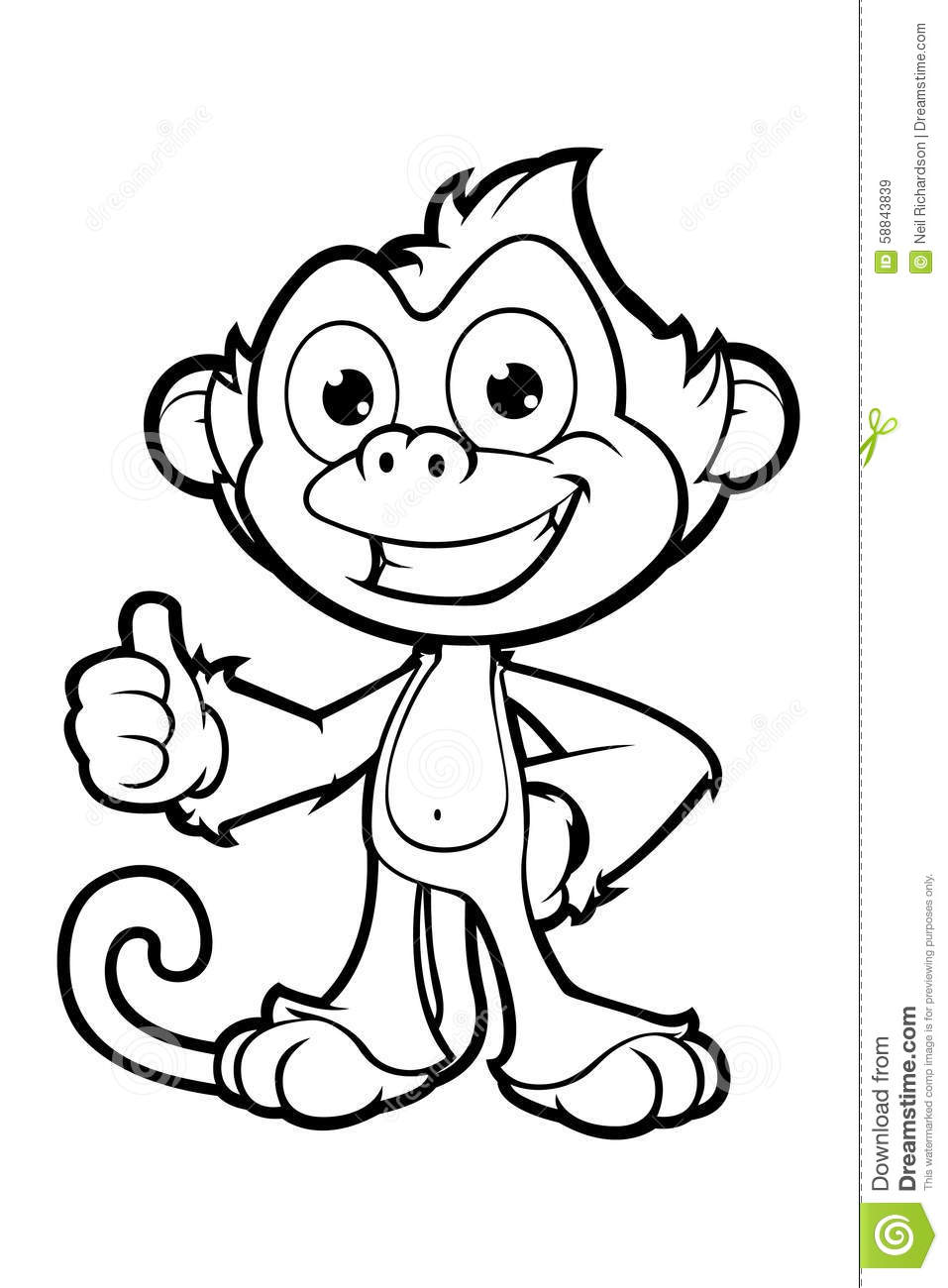 Download Cheeky Monkey Character In Black White Stock Vector