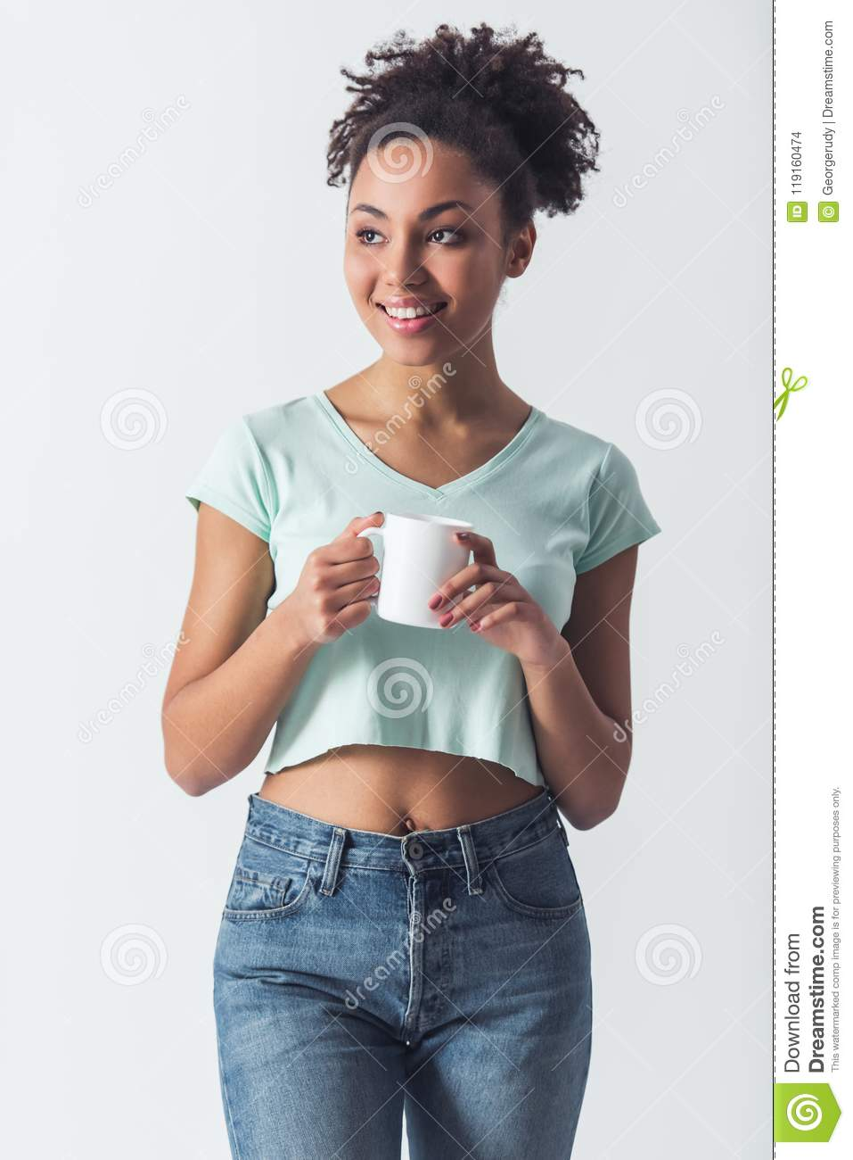 Download Beautiful Afro-American Girl Stock Photo - Image of lady, curly: 119160474