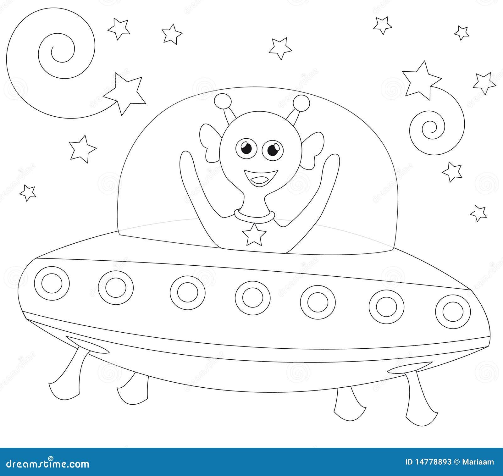 Cheerful alien in spaceship