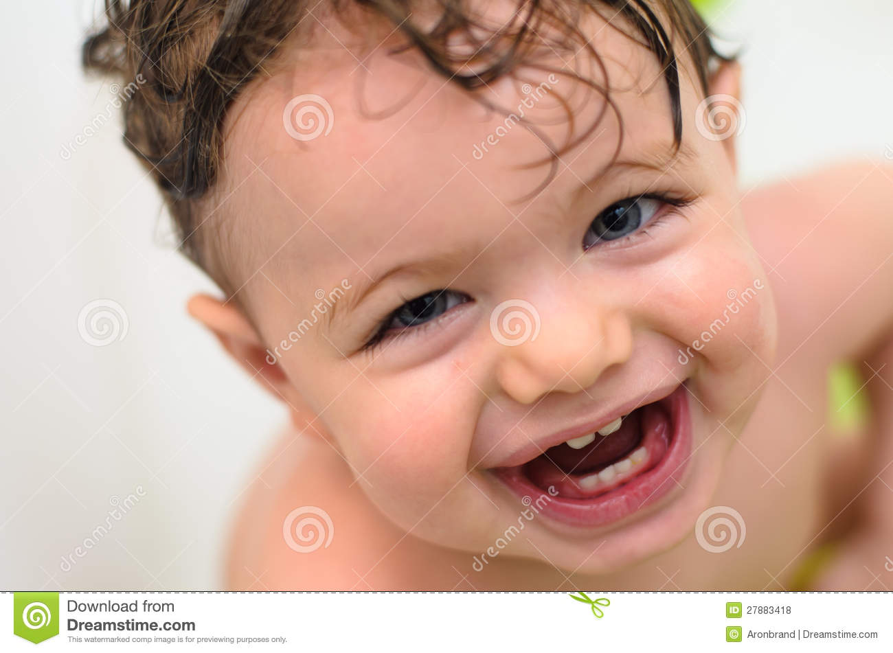 Cheerful Baby Taking A Bath Royalty Free Stock Photos - Image ...