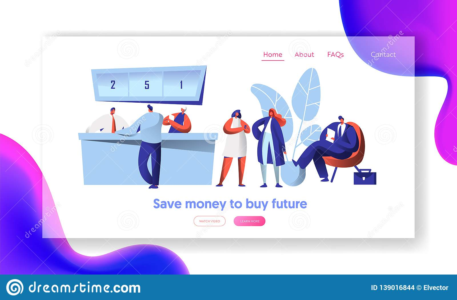 Cheerful Bank Employee and Client at Reception Desk Landing Page. Male Waiting In Line with Document. Female Character