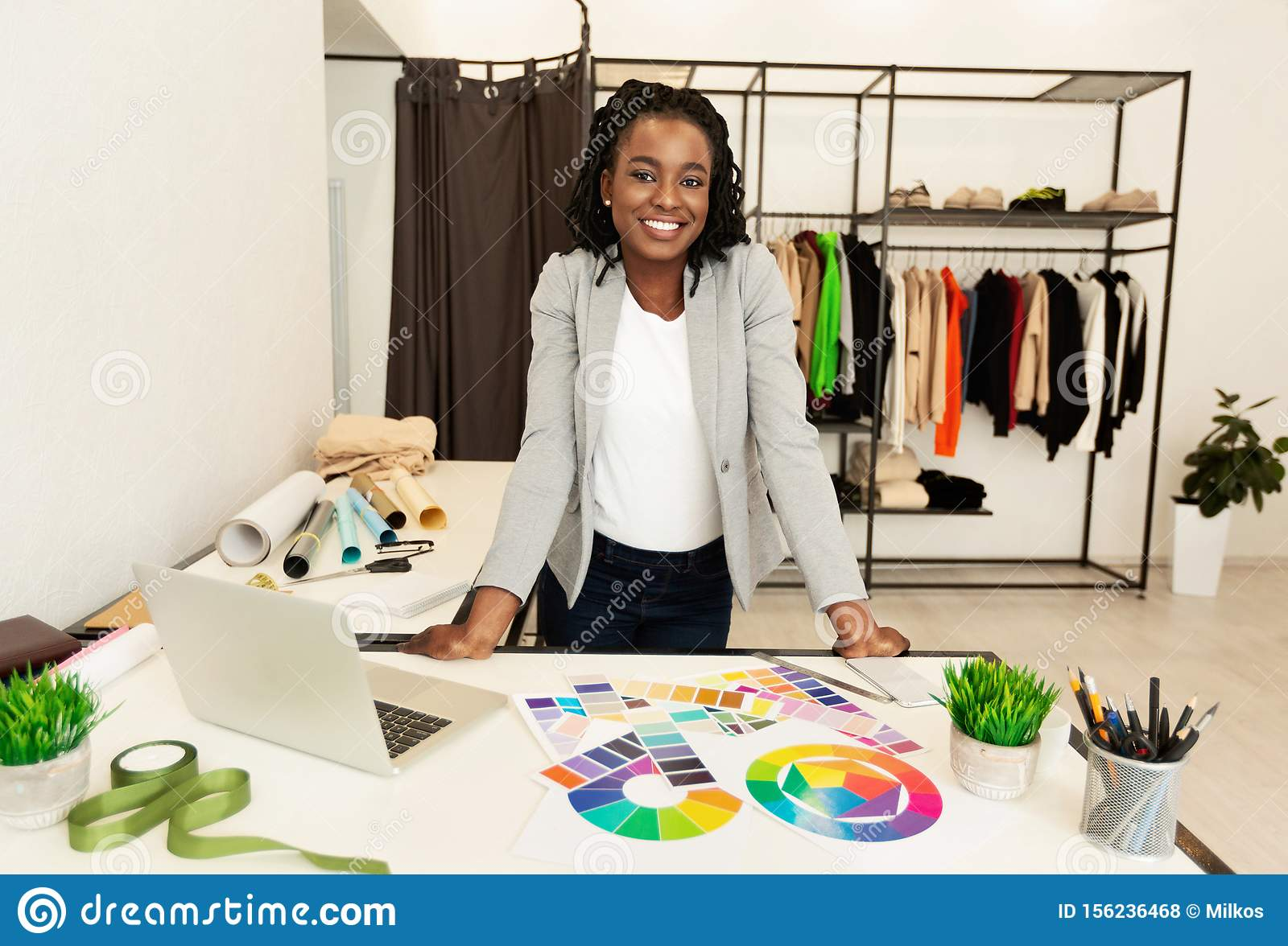 Cheerful Black Fashion Designer Smiling Working In Studio Stock Photo Image Of Fabric Girl 156236468