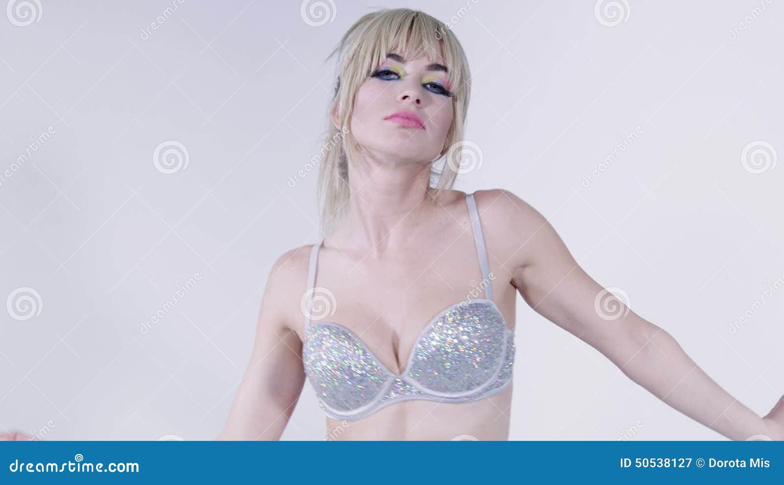 Wearing bras girls blond sexy