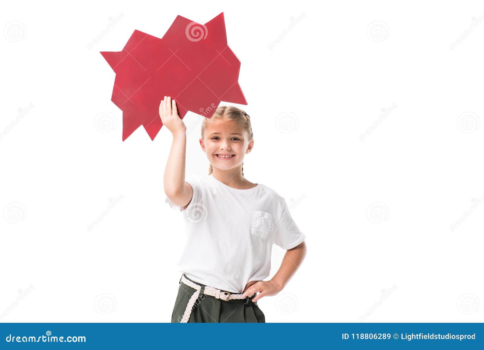 cheerful blonde girl holding blank speech bubble