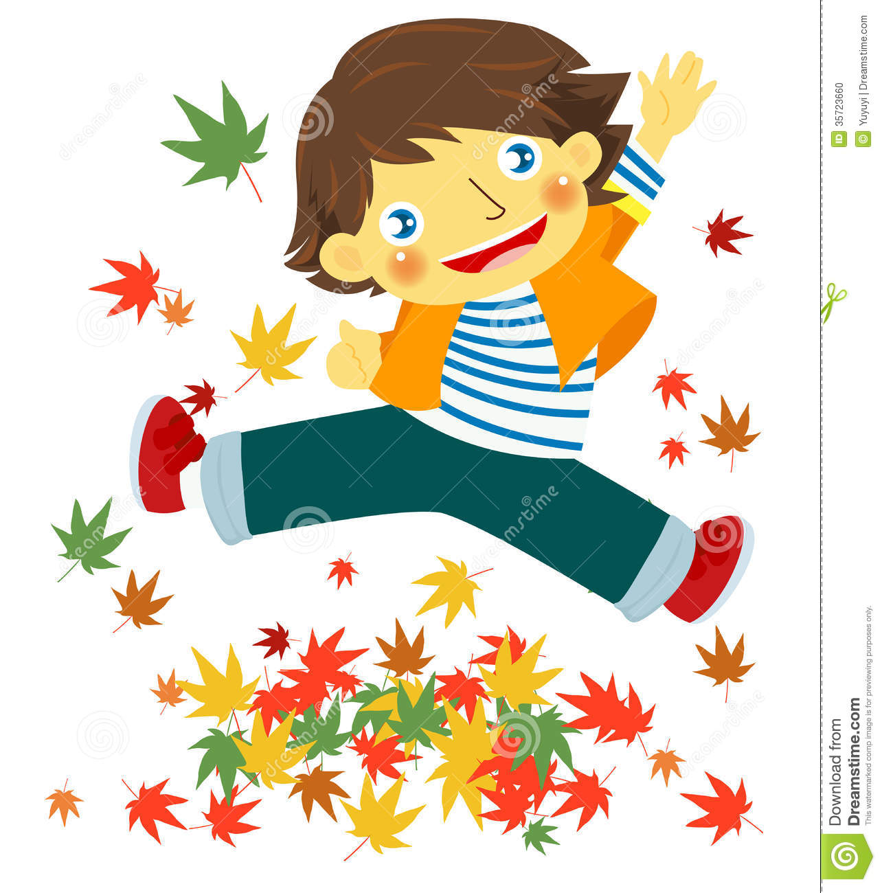 Cheerful Boy With Autumn Leaves Stock Photo - Image: 35723660