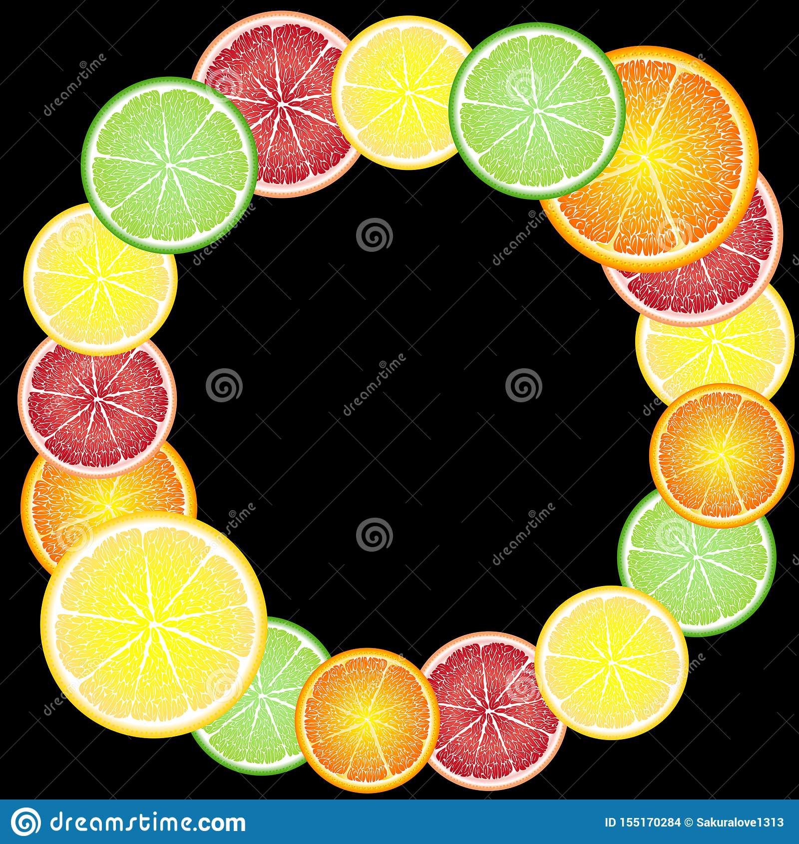 Cheerful, bright frame of circles of citrus fruits: orange, lemon, grapefruit, lime. Greeting card