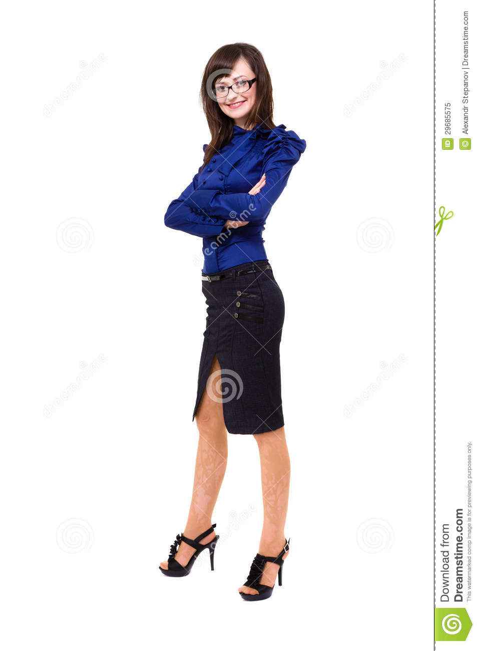 Full length of cheerful business woman in casual clothing standing on