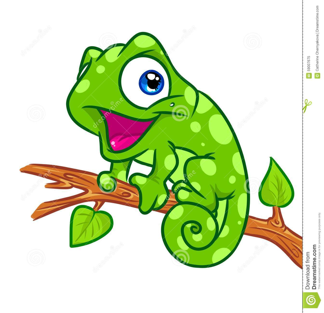 Cheerful Chameleon Tree Branch Cartoon Illustration Stock Illustration ...