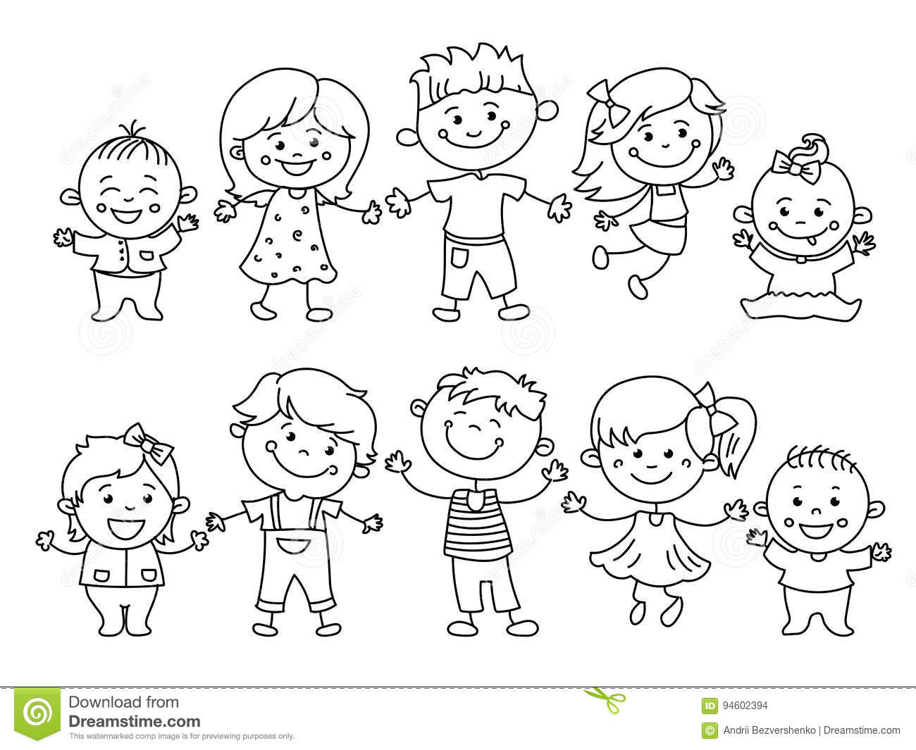 Cheerful children painted by colorful pencils with kids elements, drawings, paintings. Girls and boys are on the white