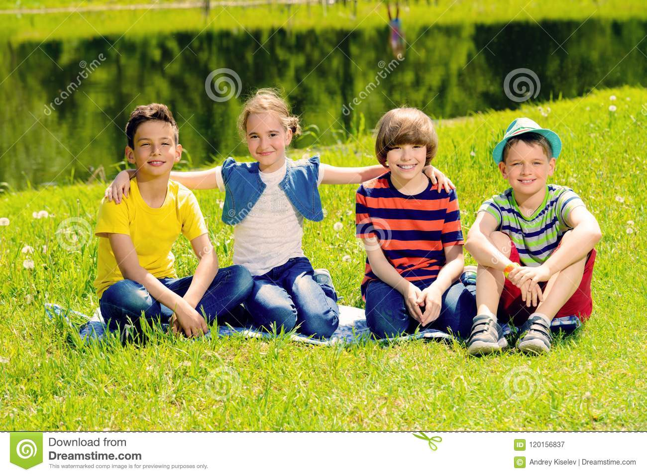 Cheerful children in park