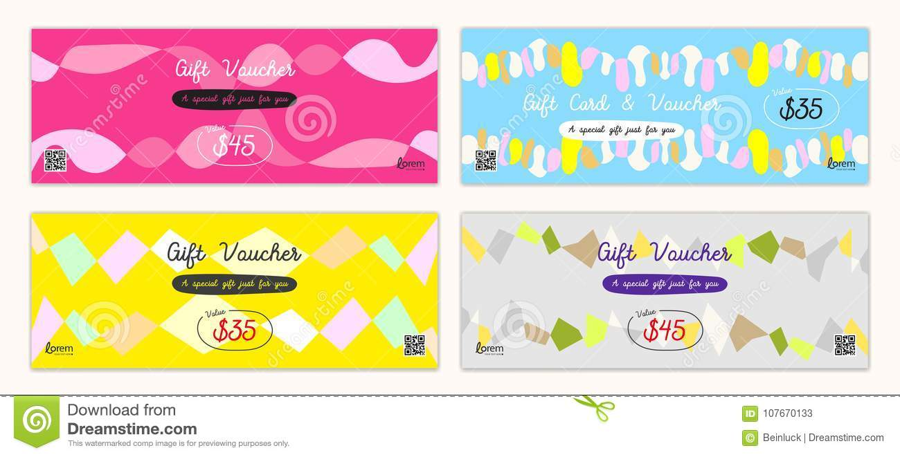 Cheerful and colorful gift certificate, voucher, gift card or ca