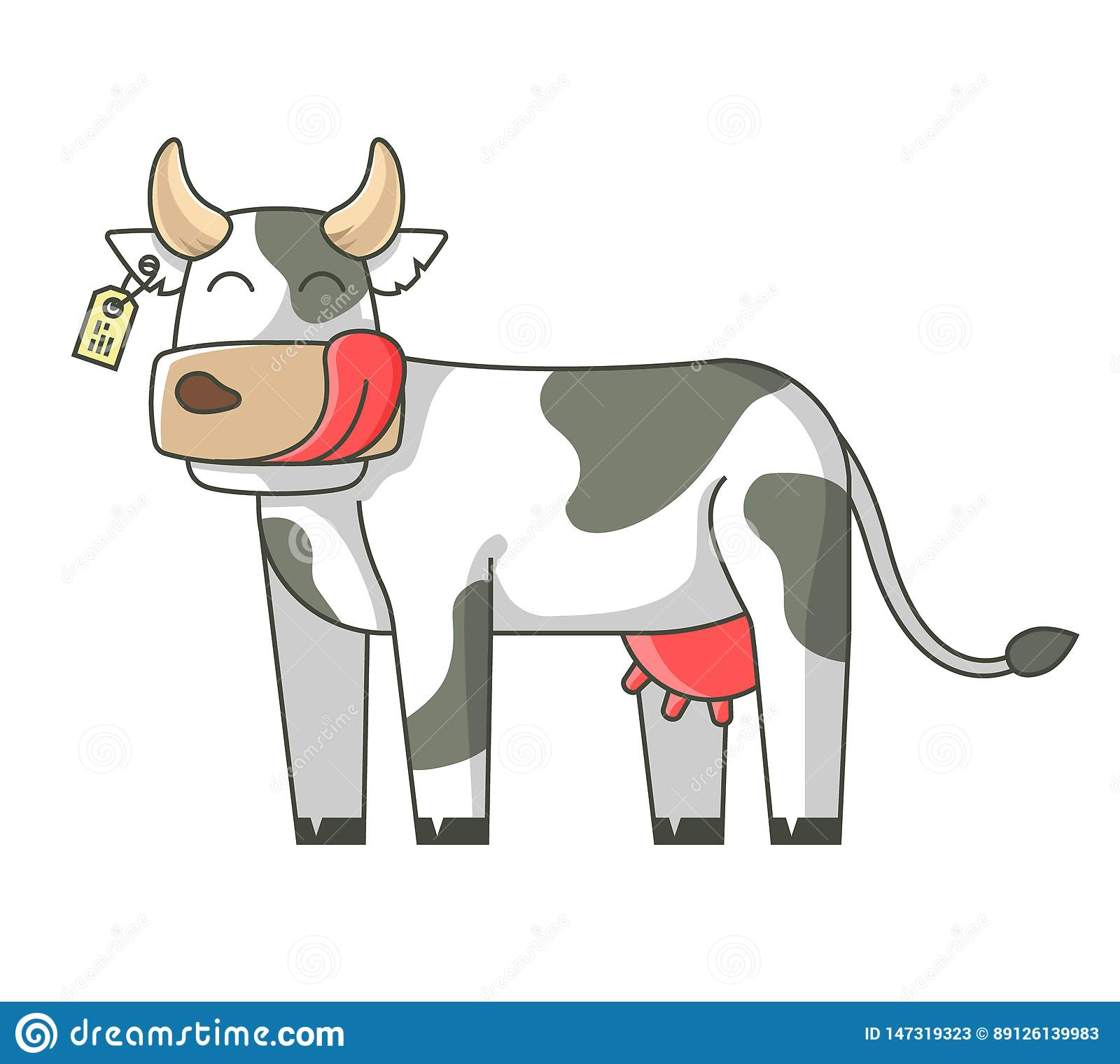 Cheerful cow on a white background. licking face. on a white background.