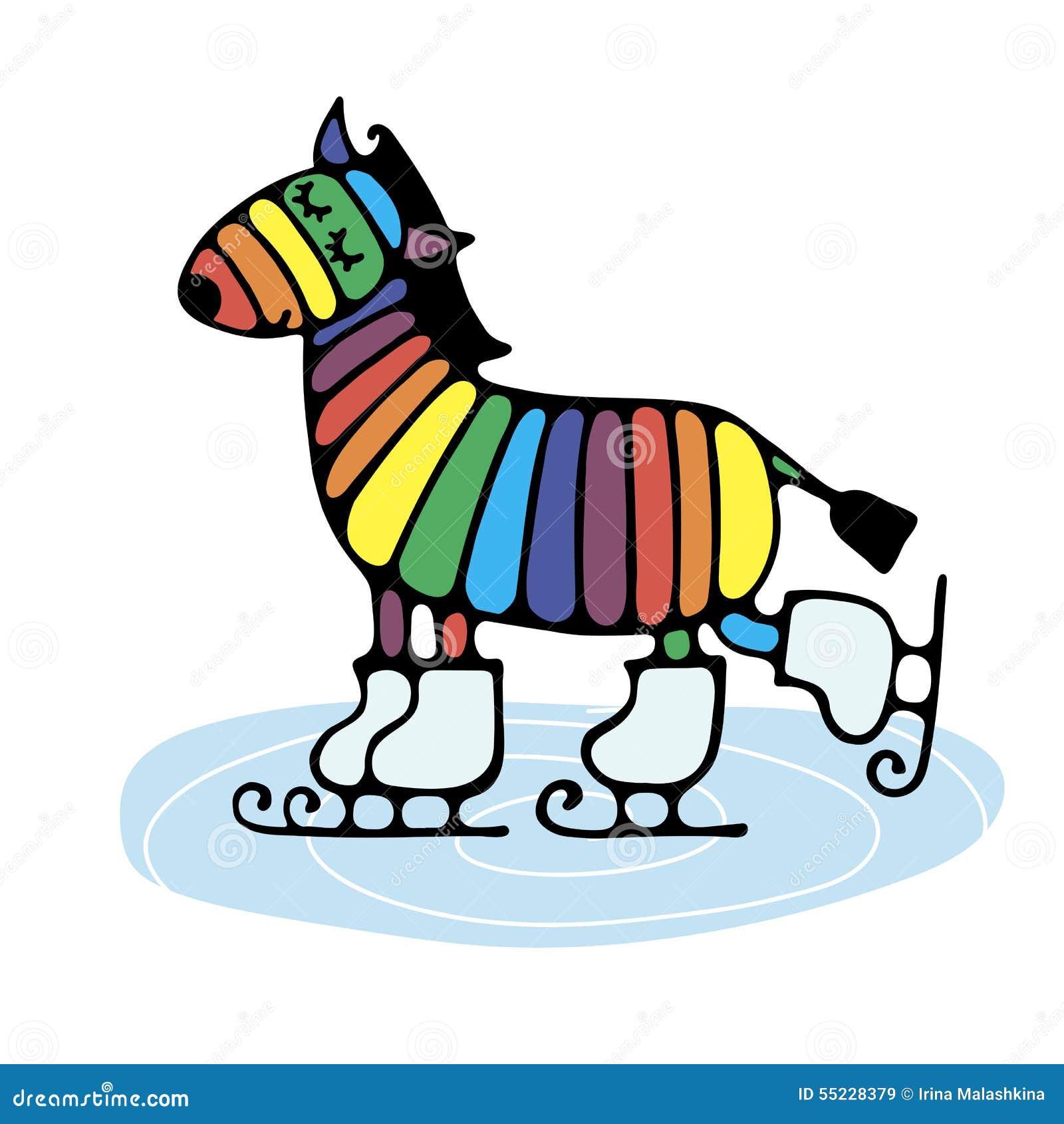 cheerful cute rainbow zebra skating stock vector image 55228379 Ice Skating Graphics Ice Skating Graphics