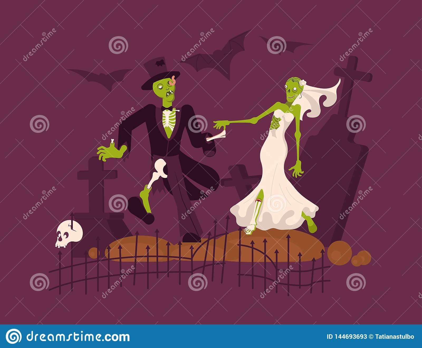Cheerful dead bride and groom