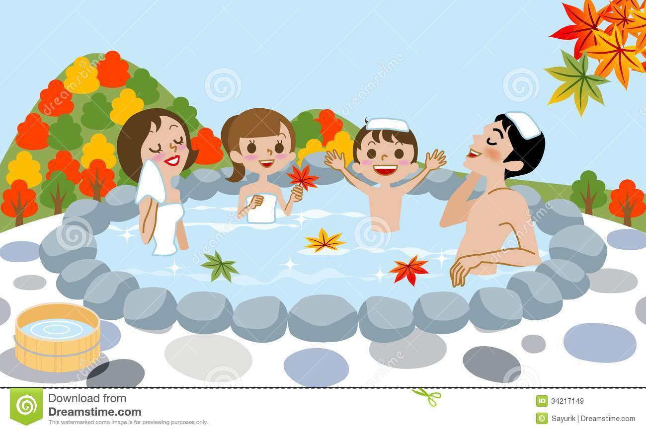 Cheerful Family Enjoying Japanese Hot Spring In Au Royalty