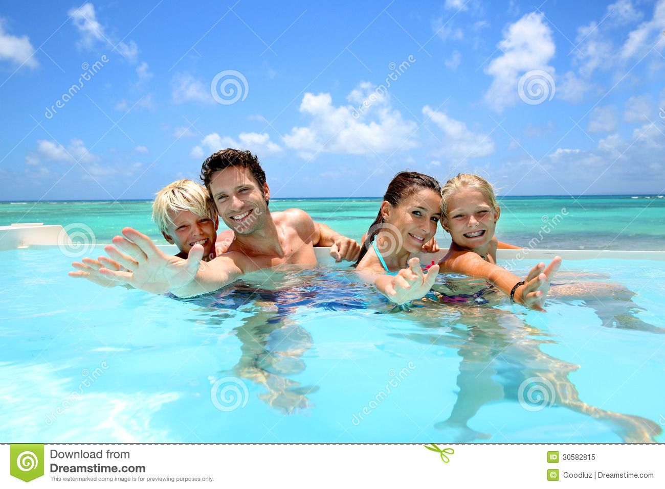 Cheerful family in infinity pool royalty free stock photo for Family swimming pool