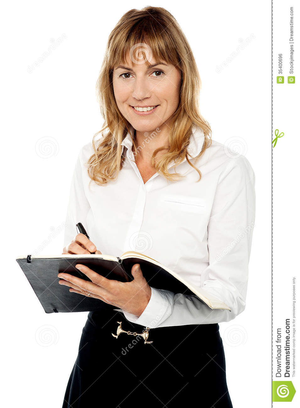 cheerful-female-assistant-writing-notes-