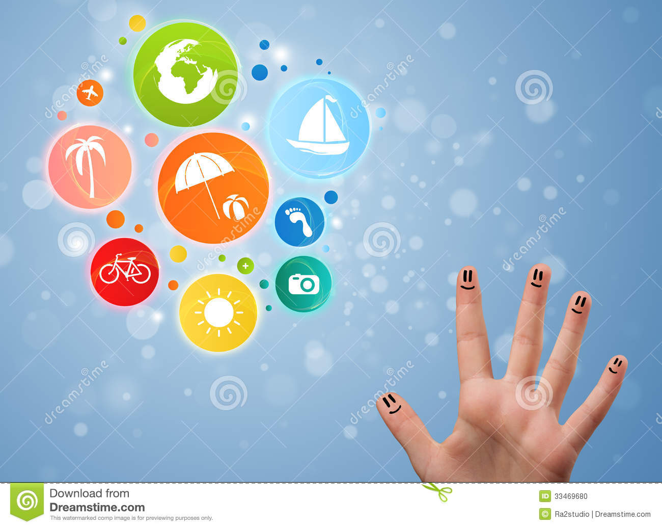 Royalty Free Stock Photo Download Cheerful Finger Smileys With Colorful Holiday Travel Bubble Icon