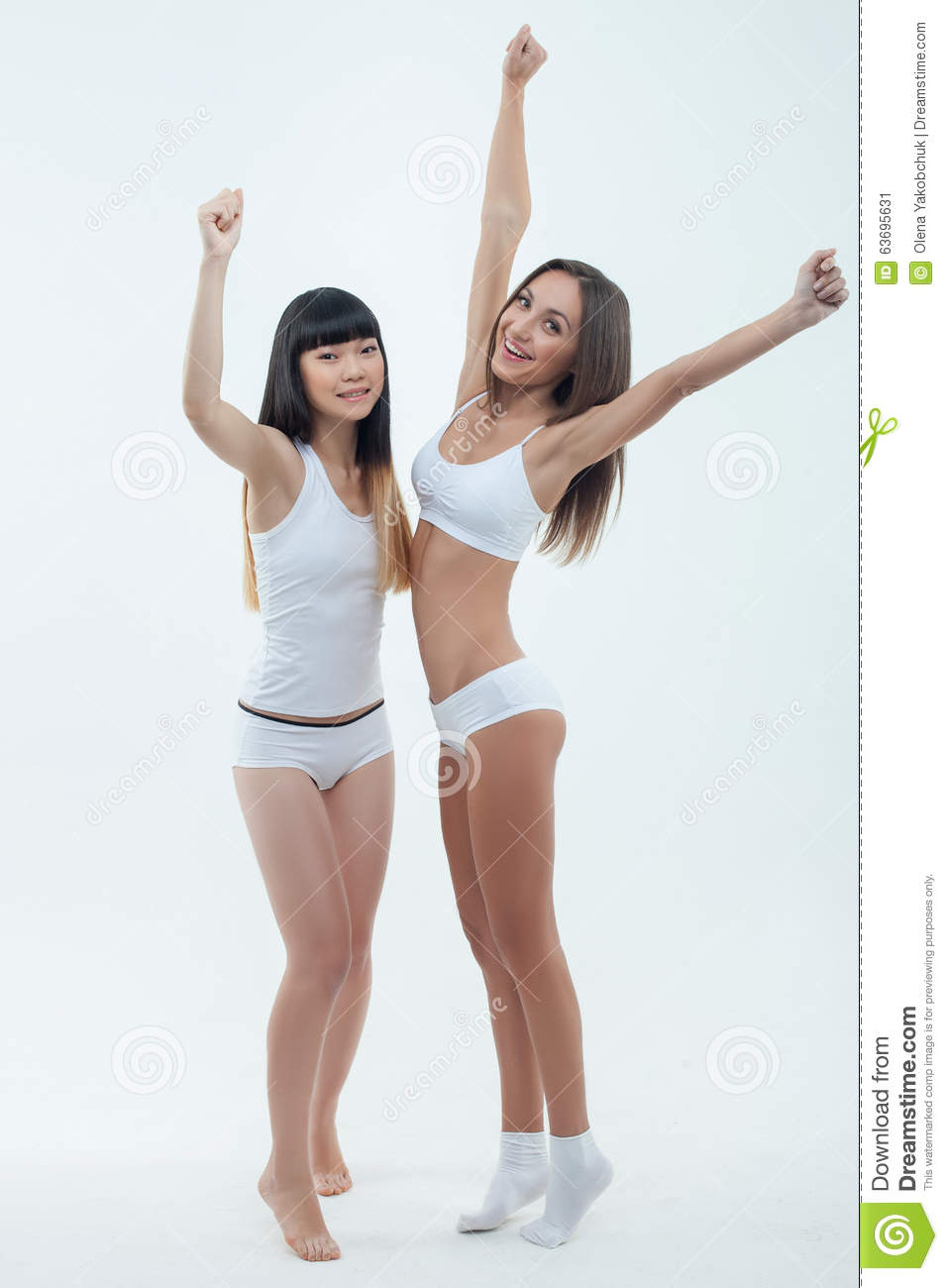 Cheerful Fit Girls Are Expressing Positive Stock Photo - Image ...