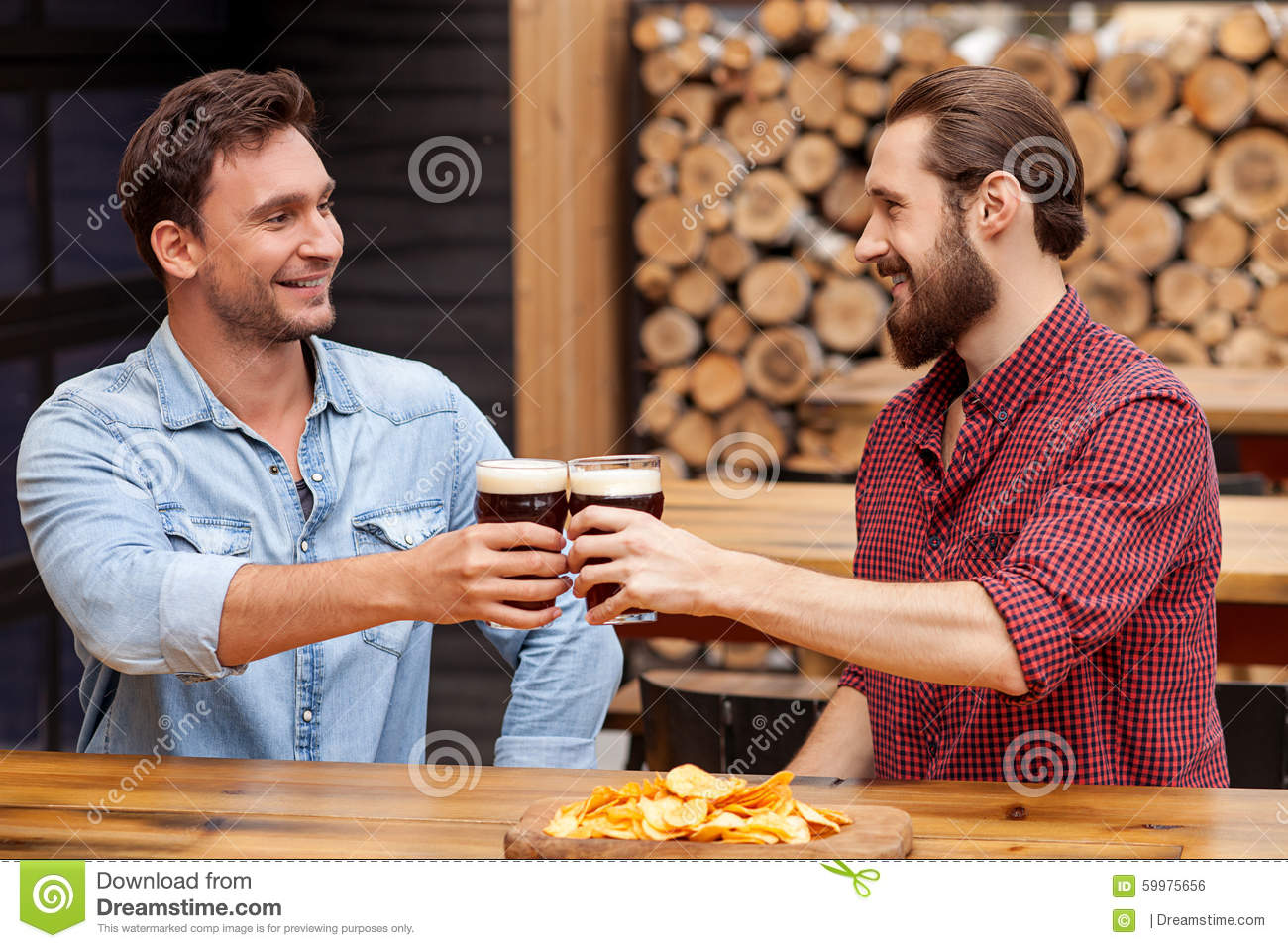 Cheerful Friendly Men Are Talking In Pub Stock Photo ...