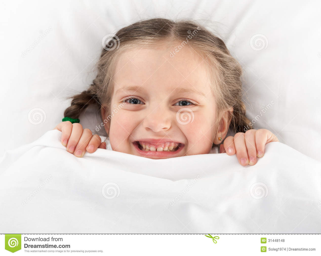 Cheerful Girl In Bed Royalty Free Stock Photos - Image: 31448148