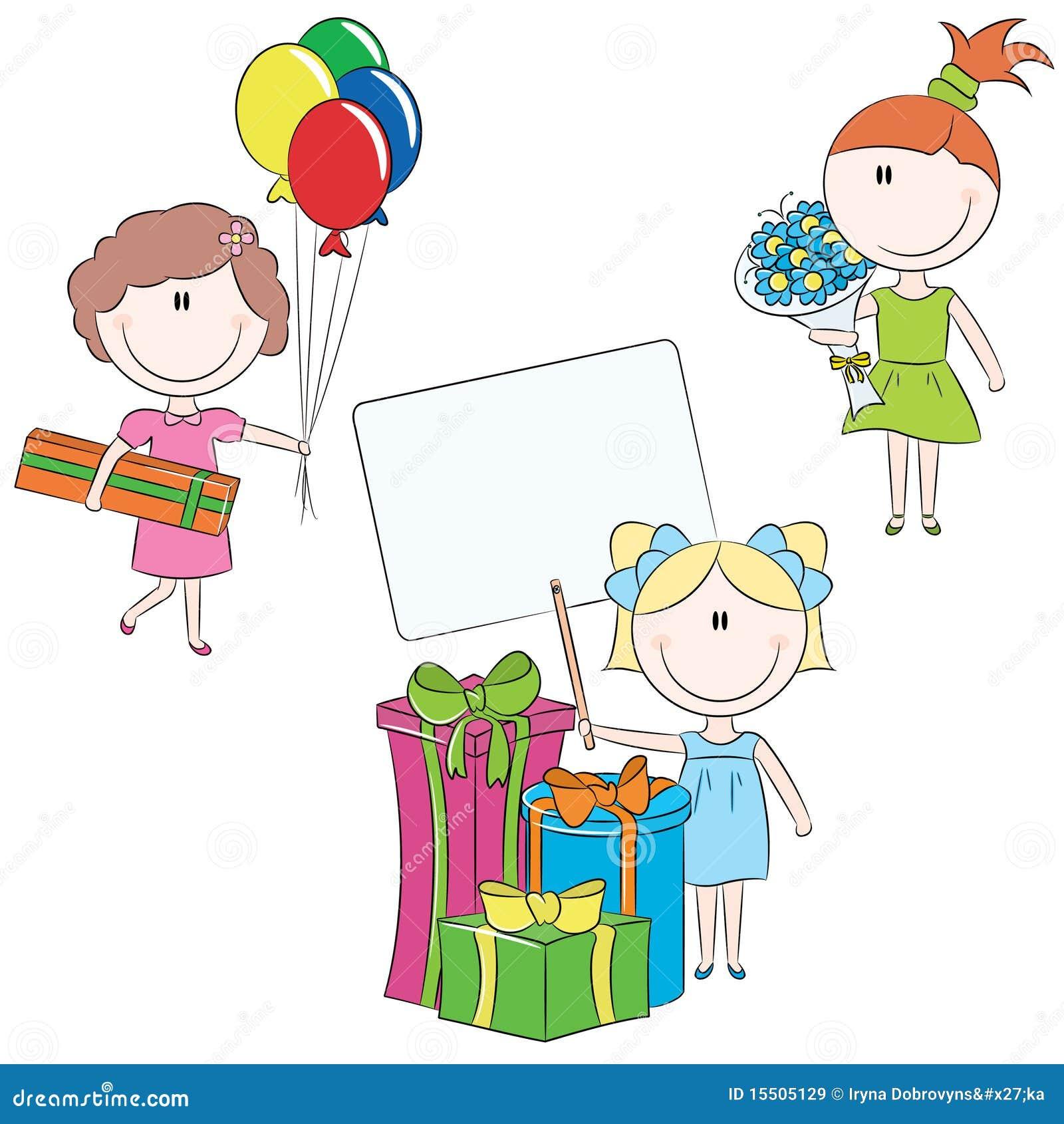 Cheerful girls make happy birthday wishes stock vector cheerful girls make happy birthday wishes m4hsunfo