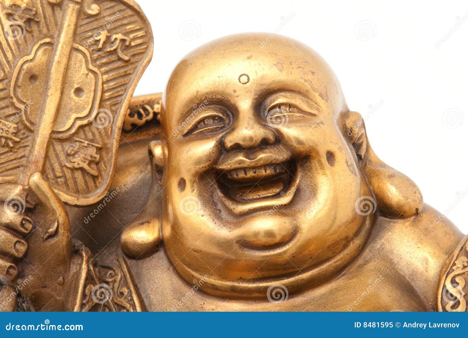 Cheerful Golden Hotei. Close-up