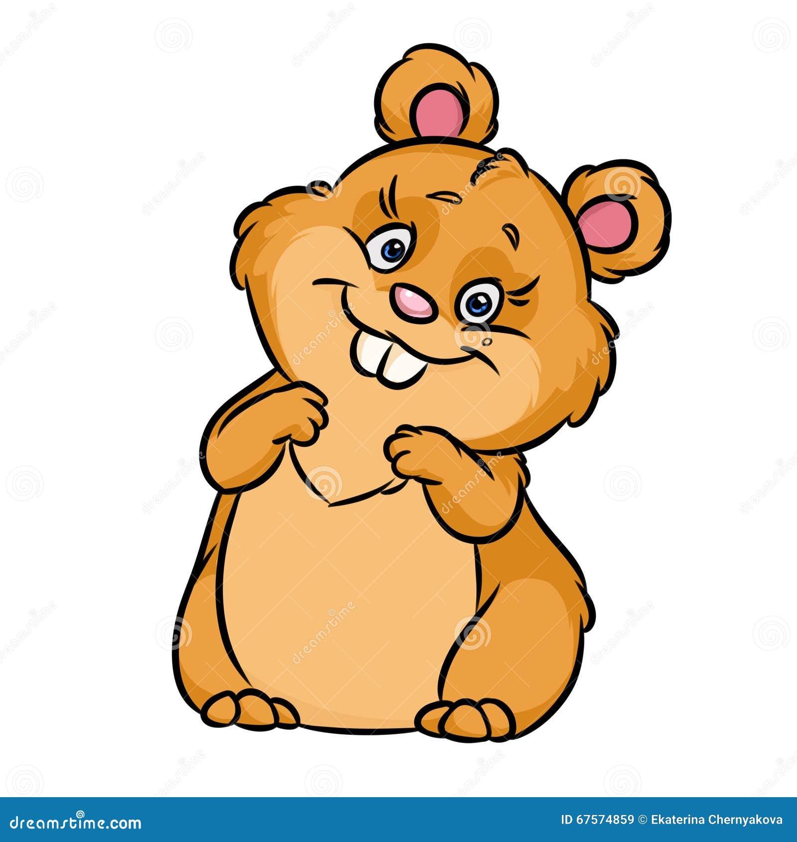 cheerful hamster cartoon illustration stock illustration