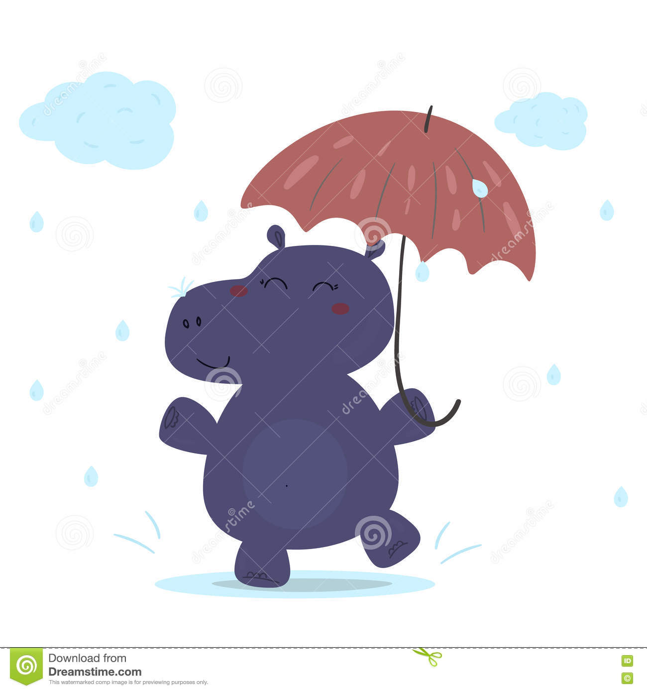 cheerful hippo in the rain with an umbrella printable templates
