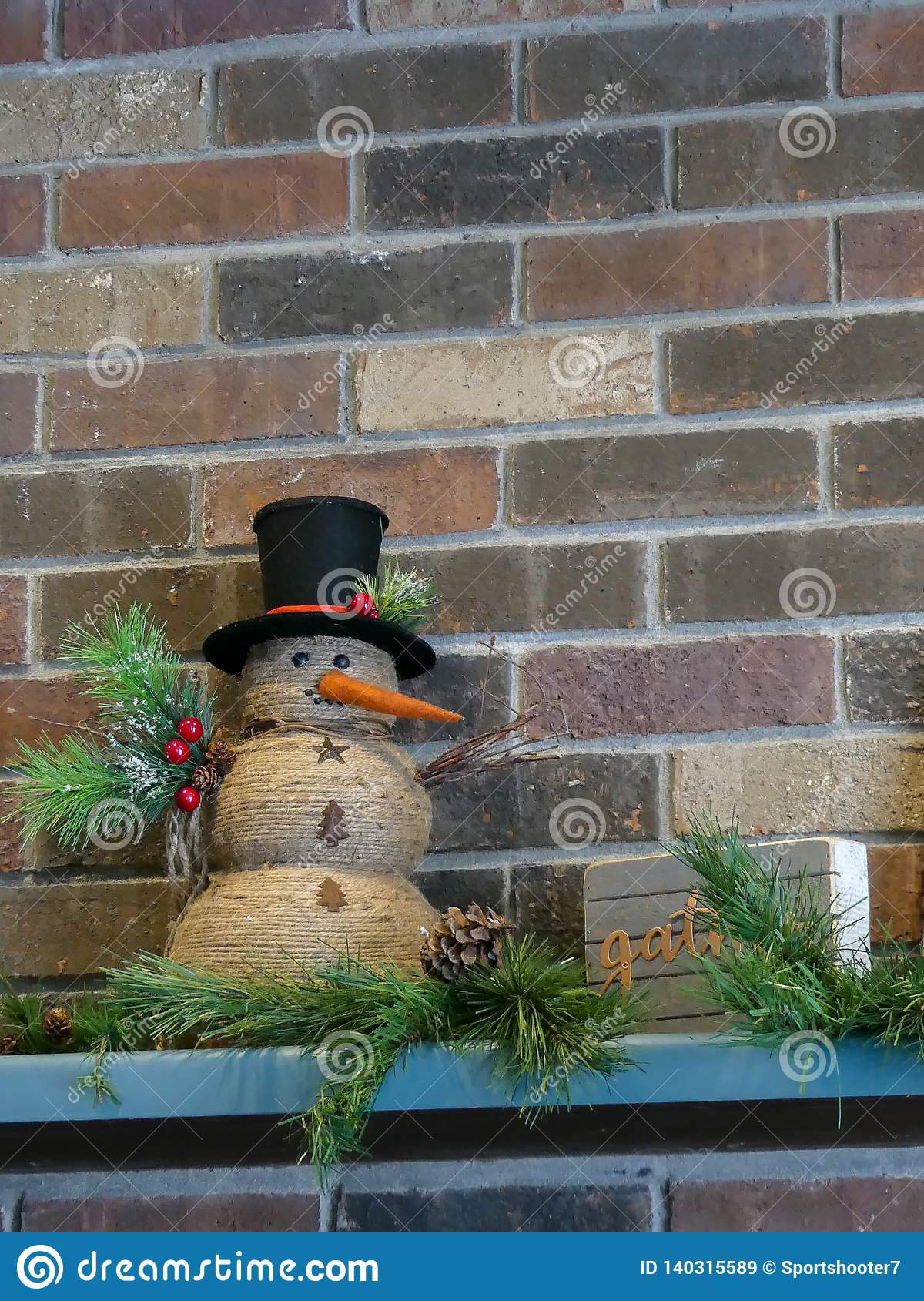 Cheerful holiday snowman decoration interior design for the holidays.