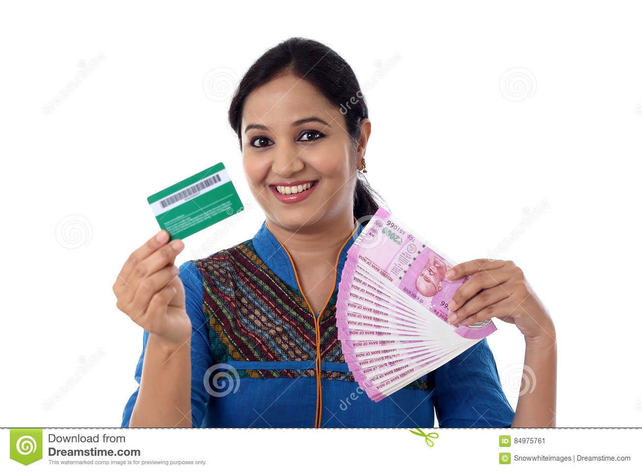 Cheerful indian woman holding a bunch of indian rupee and credit download cheerful indian woman holding a bunch of indian rupee and credit stock image image reheart Images